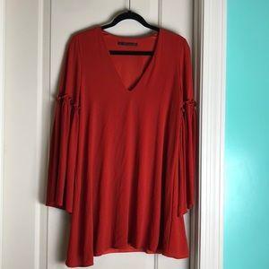 Zara flowy bell sleeve dress